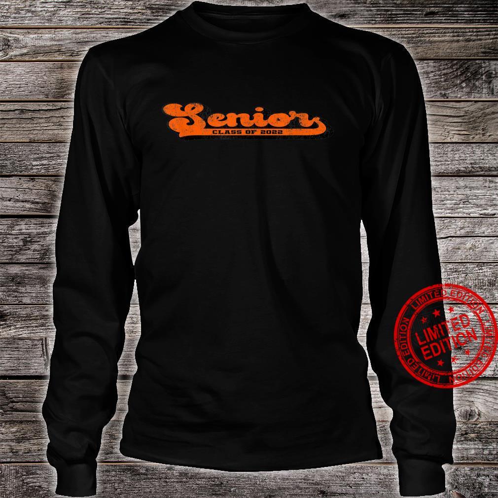Class of 2022 Senior Vintage Orange & Black School Color Shirt long sleeved