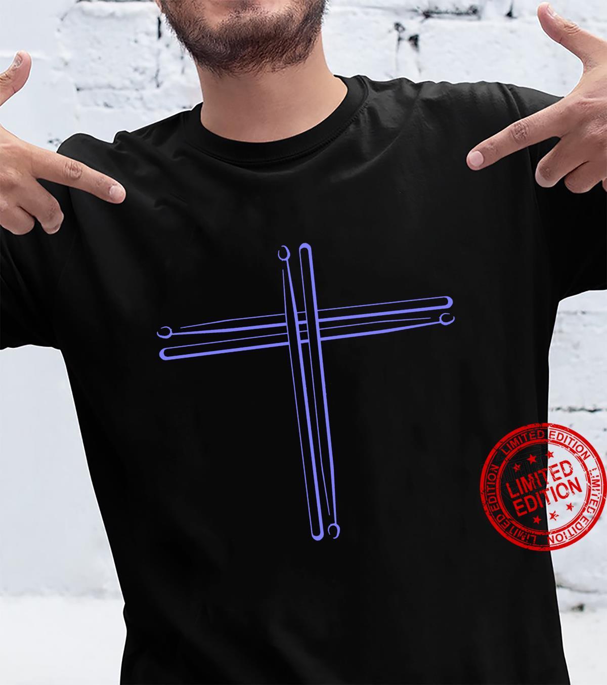 Cool Drumsticks Christian Cross Drummer Shirt