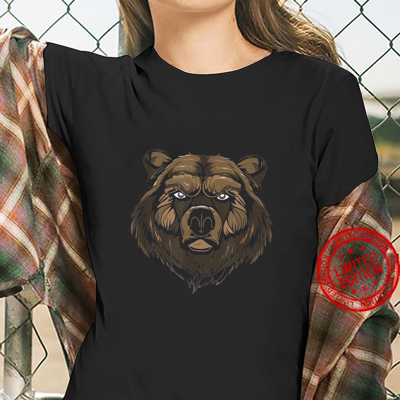 Cool bear brown bear grizzly face head predator Shirt ladies tee