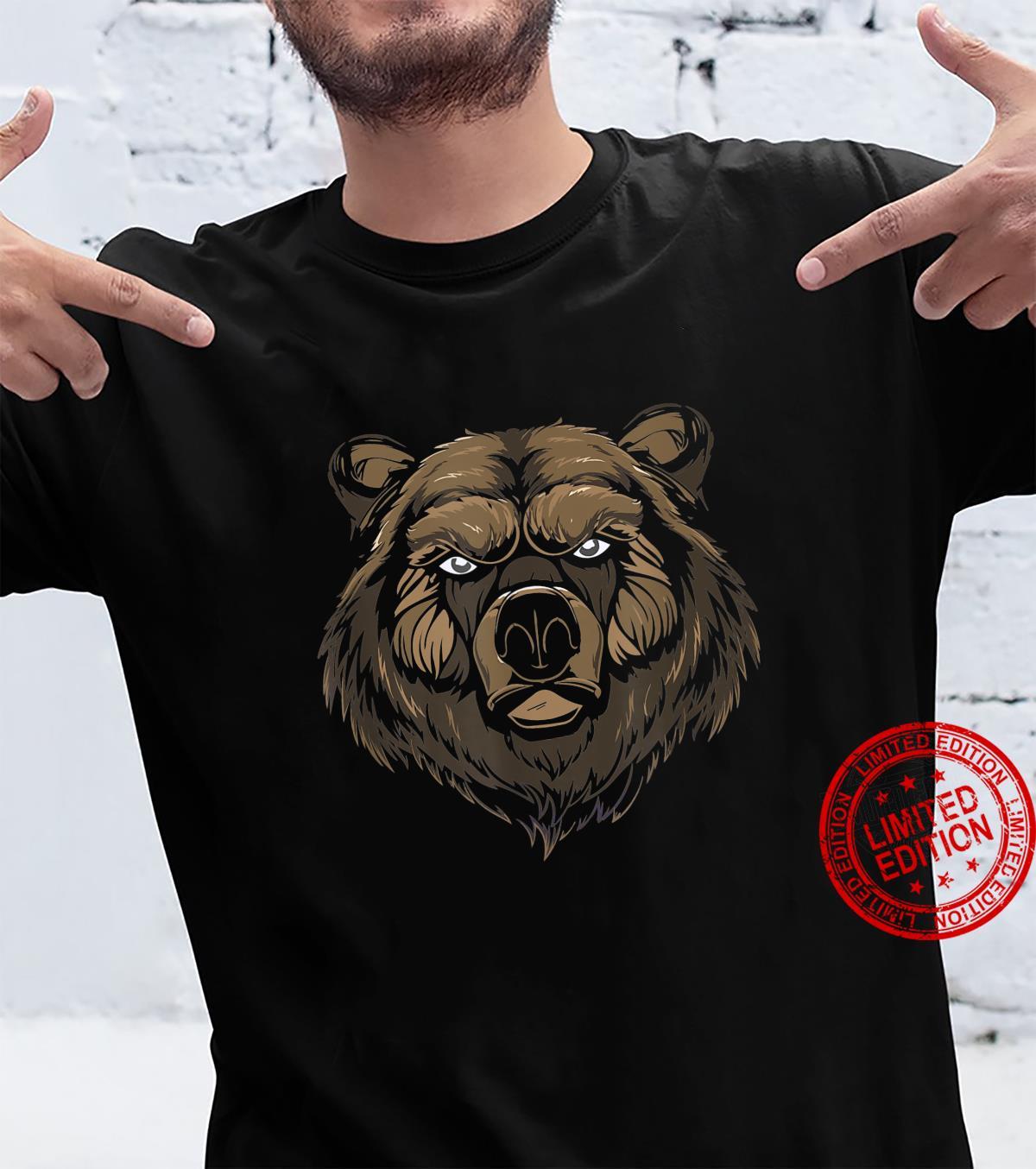 Cool bear brown bear grizzly face head predator Shirt