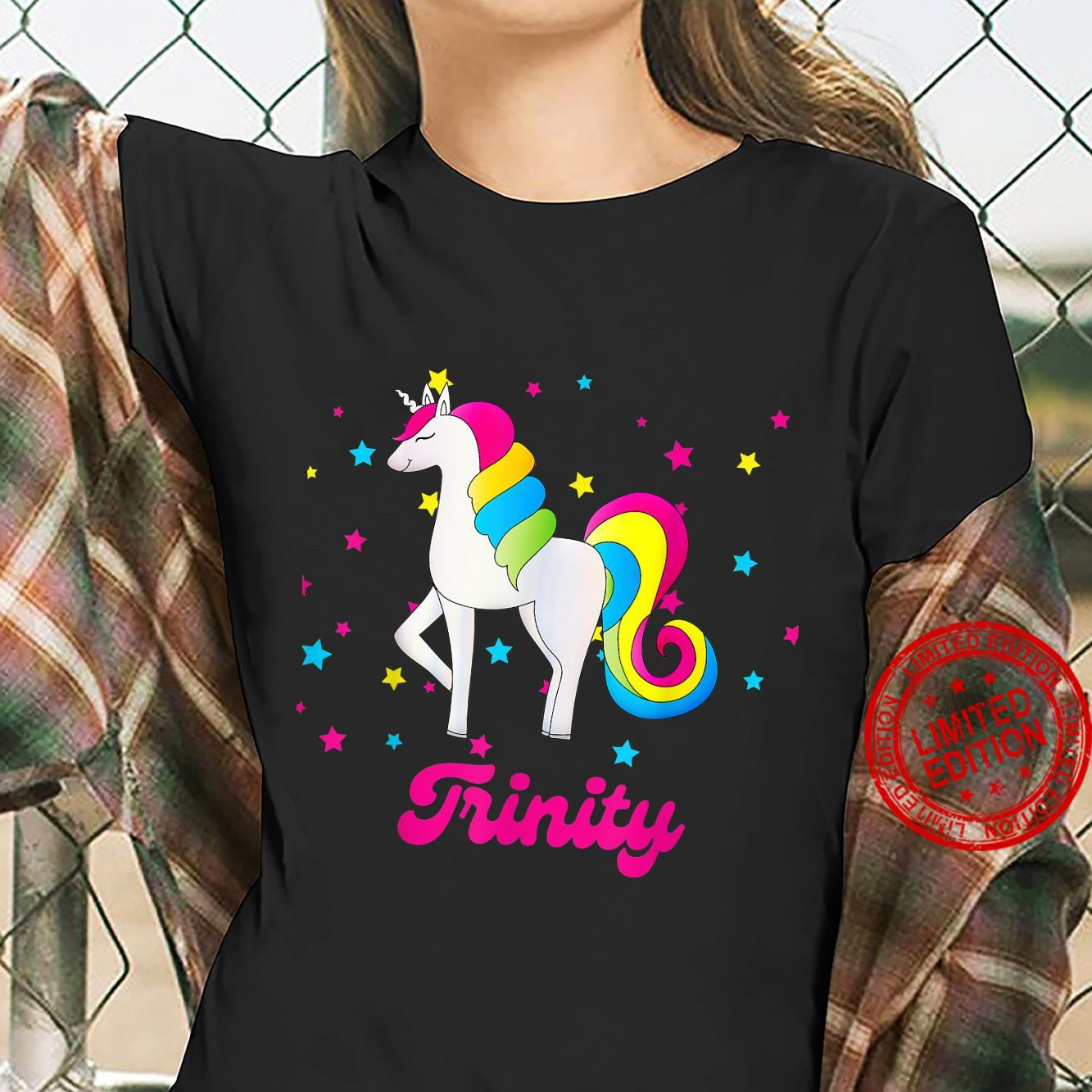 Cute Rainbow Unicorn Pink and Blue Personalized Trinity Shirt ladies tee