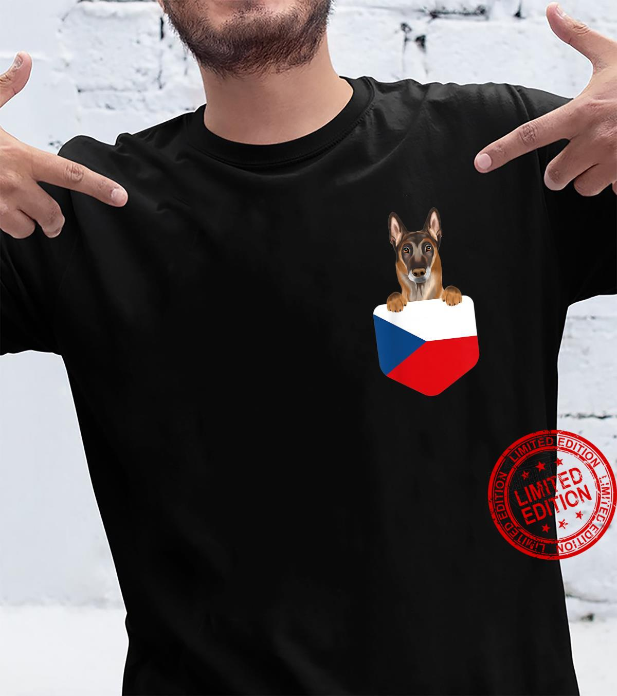 Czech Republic Flag Belgian Malinoi Dog In Pocket Shirt