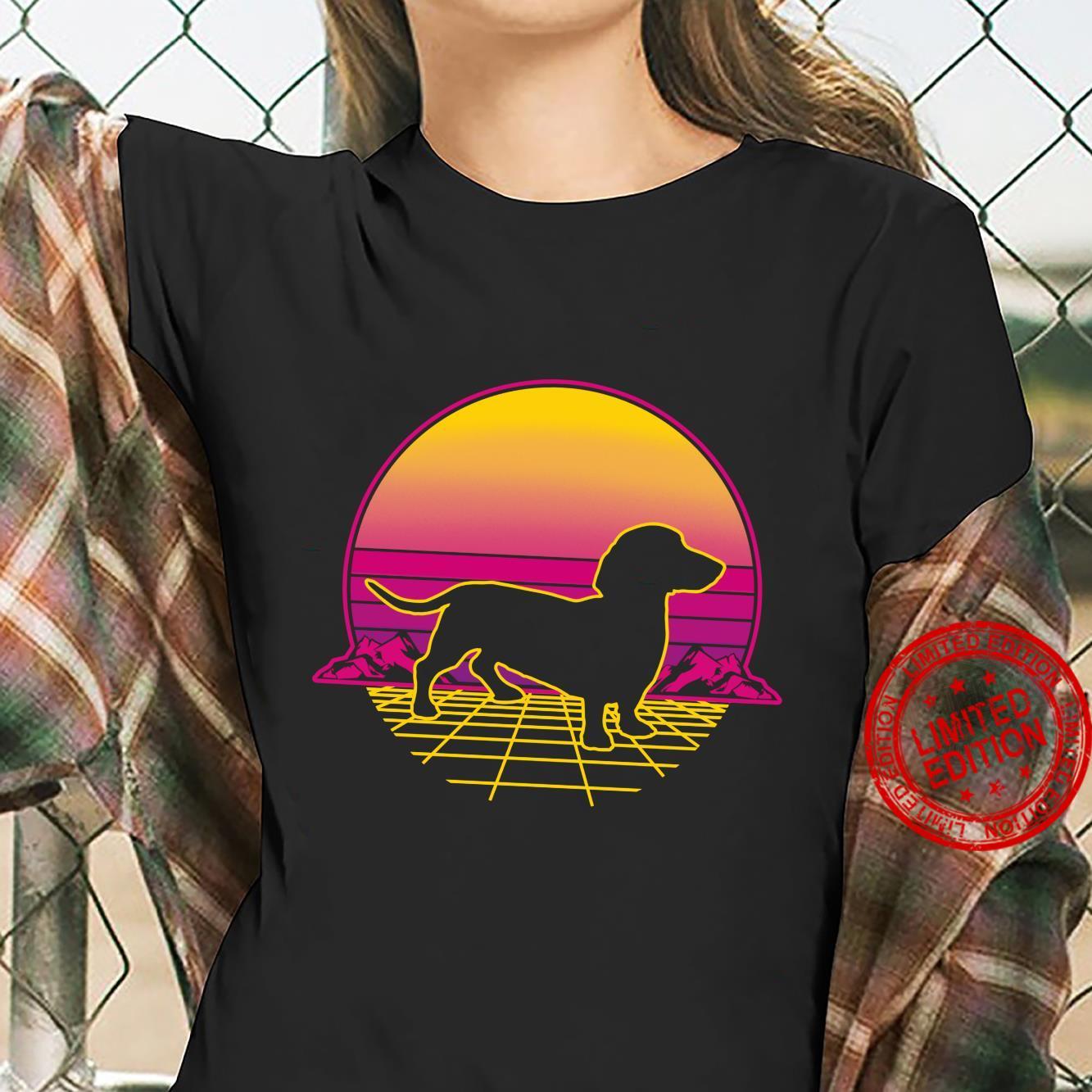 Dachshund Dog Puppy Retro Vintage Sunset Shirt ladies tee
