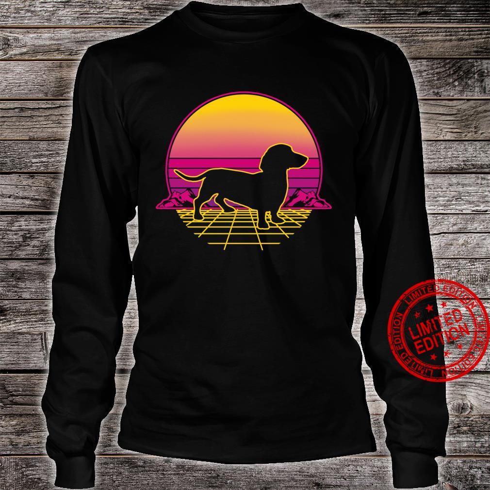 Dachshund Dog Puppy Retro Vintage Sunset Shirt long sleeved