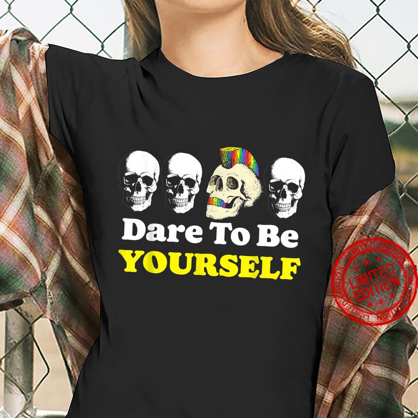 Dare to be Yourself Cute LGBTQ Pride Skull Halloween Shirt ladies tee