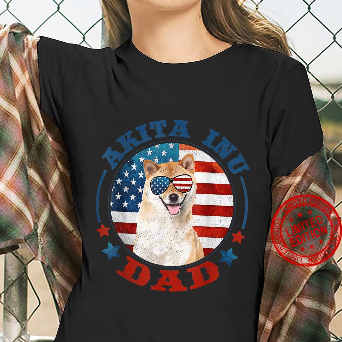 Funny Akita Inu Dog Dad Patriotic USA Shirt ladies tee