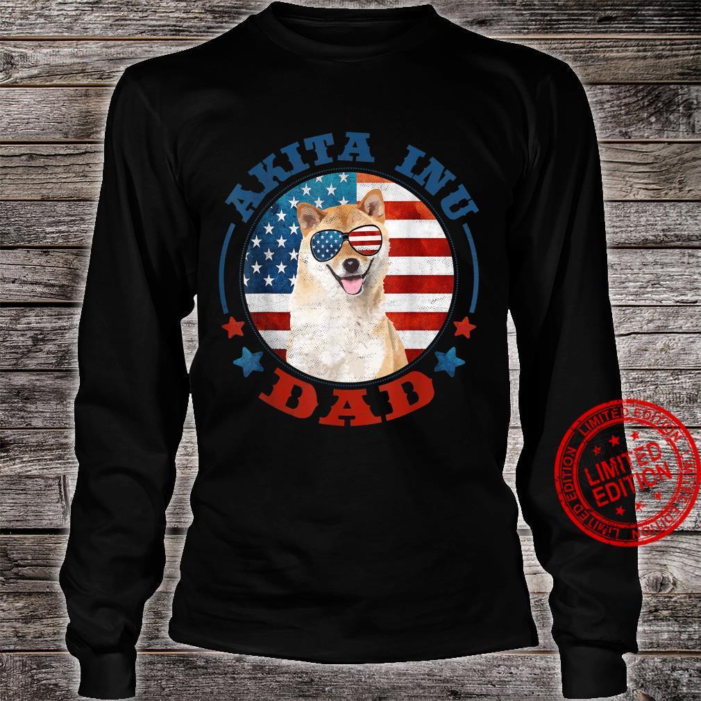 Funny Akita Inu Dog Dad Patriotic USA Shirt long sleeved