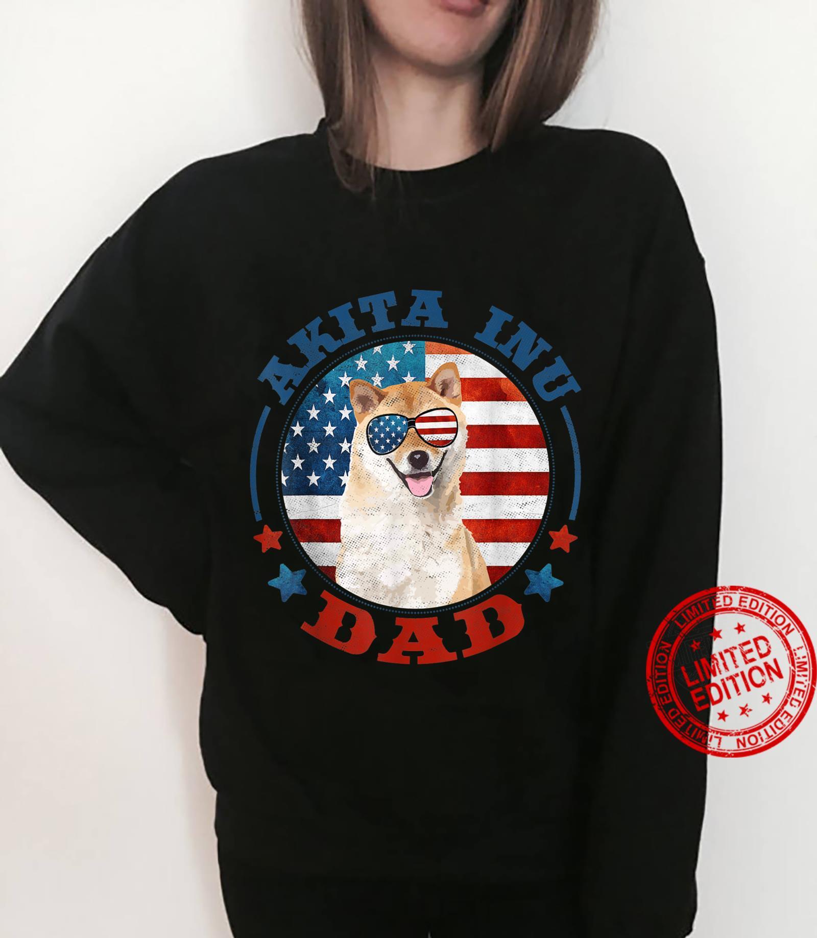 Funny Akita Inu Dog Dad Patriotic USA Shirt sweater