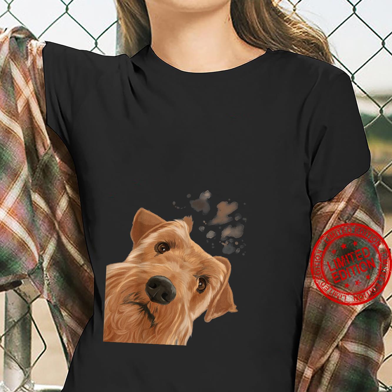 Funny Curious Dog Irish Terrier Shirt ladies tee