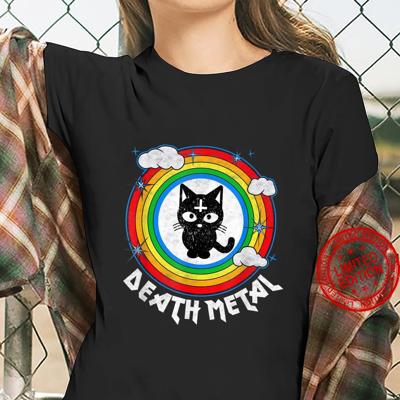 Funny Death Metal Satanic Cat Rainbow Rock Goth Concert Shirt ladies tee