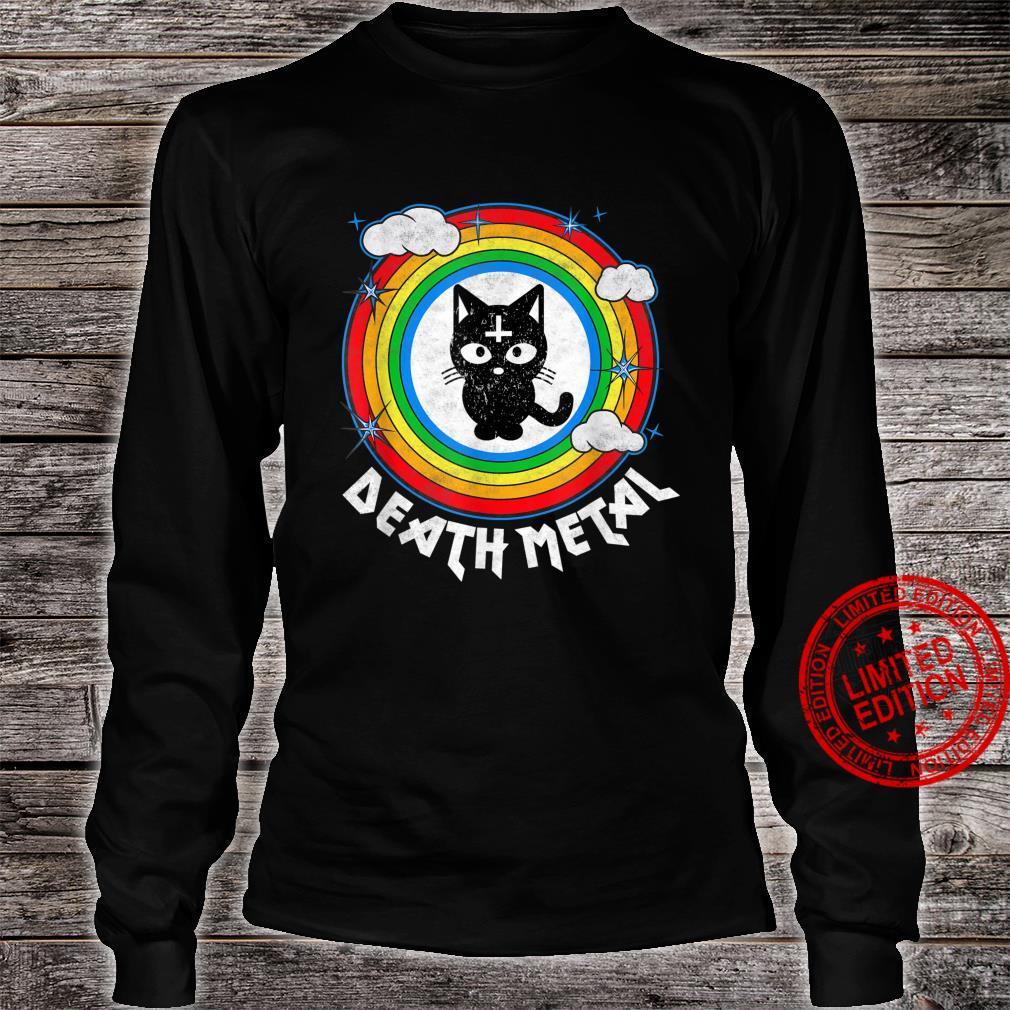 Funny Death Metal Satanic Cat Rainbow Rock Goth Concert Shirt long sleeved