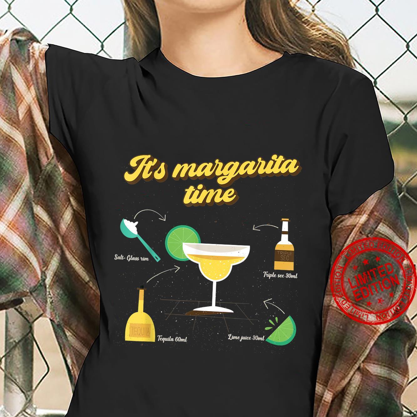 Funny It's Margarita Time Margarita Drink Ingredients Shirt ladies tee