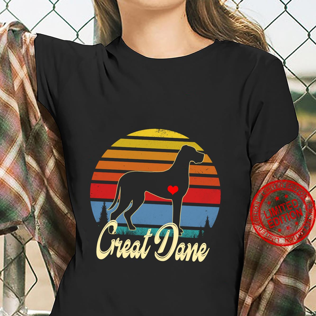 Great Dane Vintage Silhouette 60s 70s Retro Dog Shirt ladies tee