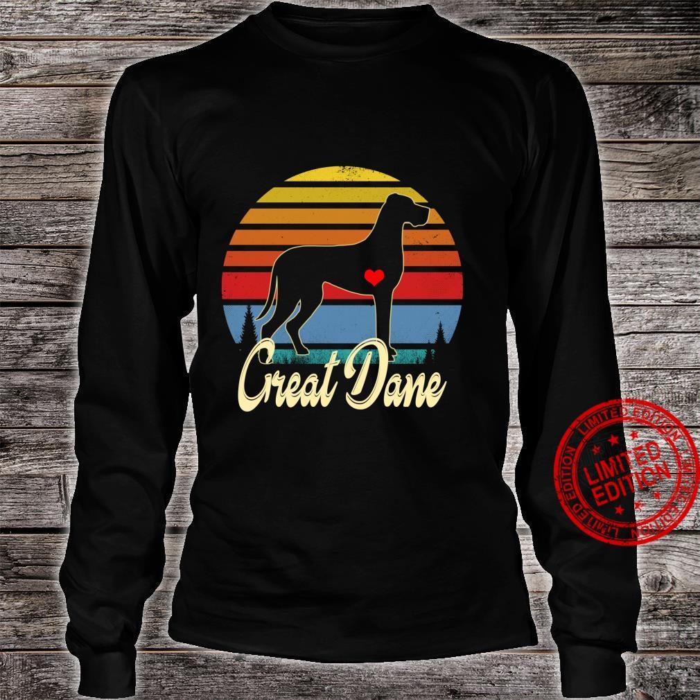 Great Dane Vintage Silhouette 60s 70s Retro Dog Shirt long sleeved