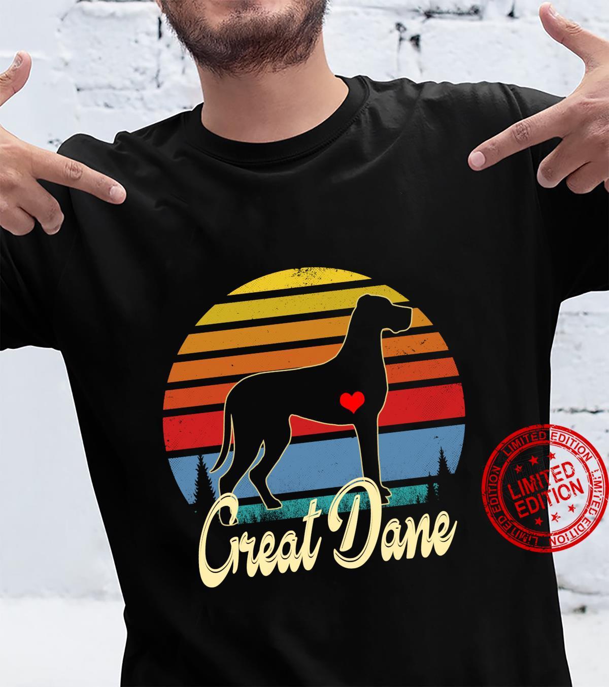 Great Dane Vintage Silhouette 60s 70s Retro Dog Shirt