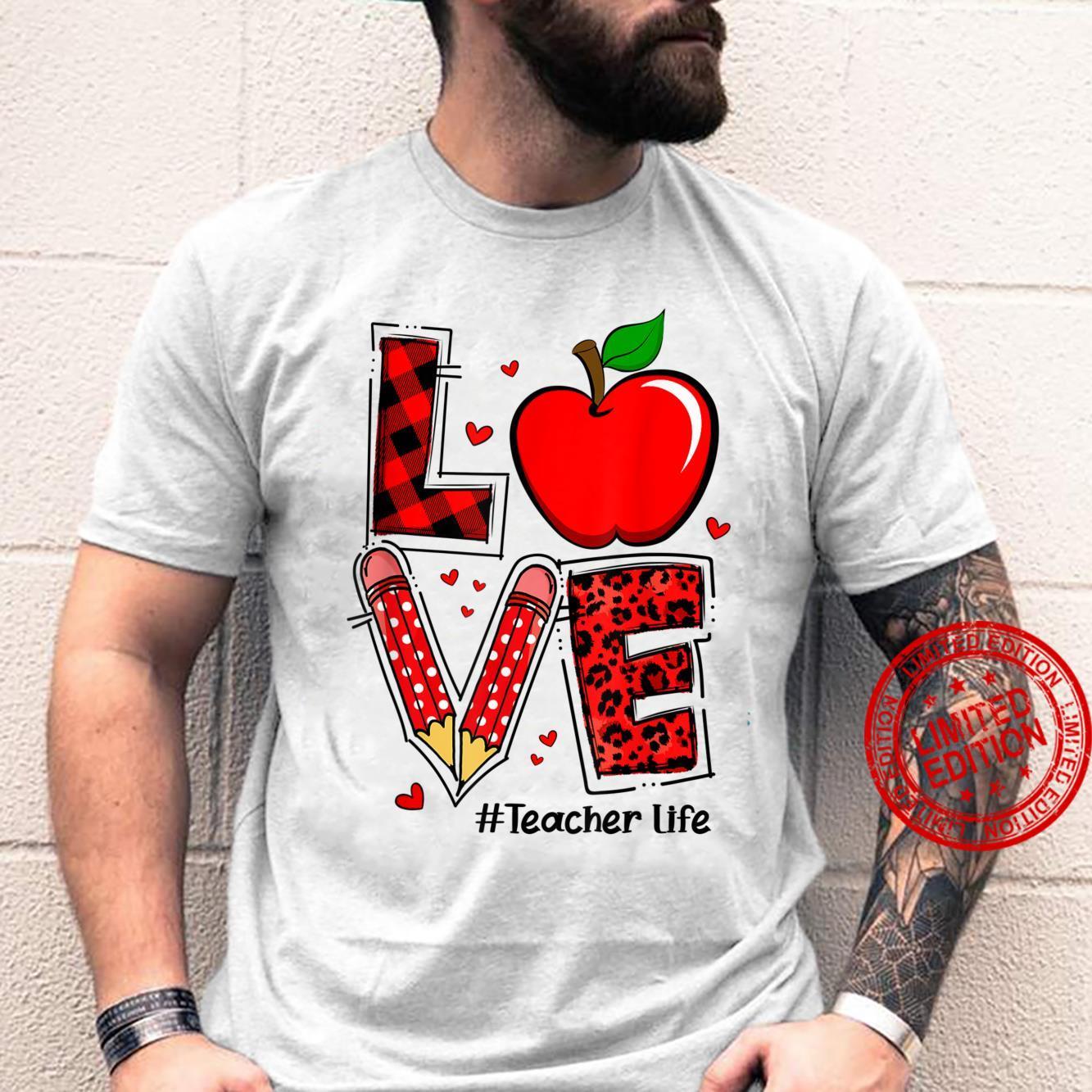 LOVE Teacher Life Leopard Red Plaid Apple Cute Teacher Shirt