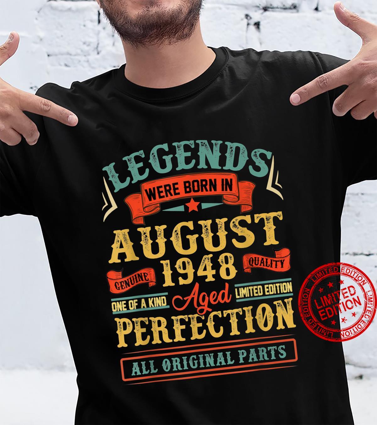 Legends Were Born In August 1948 73Th Birthday Shirt