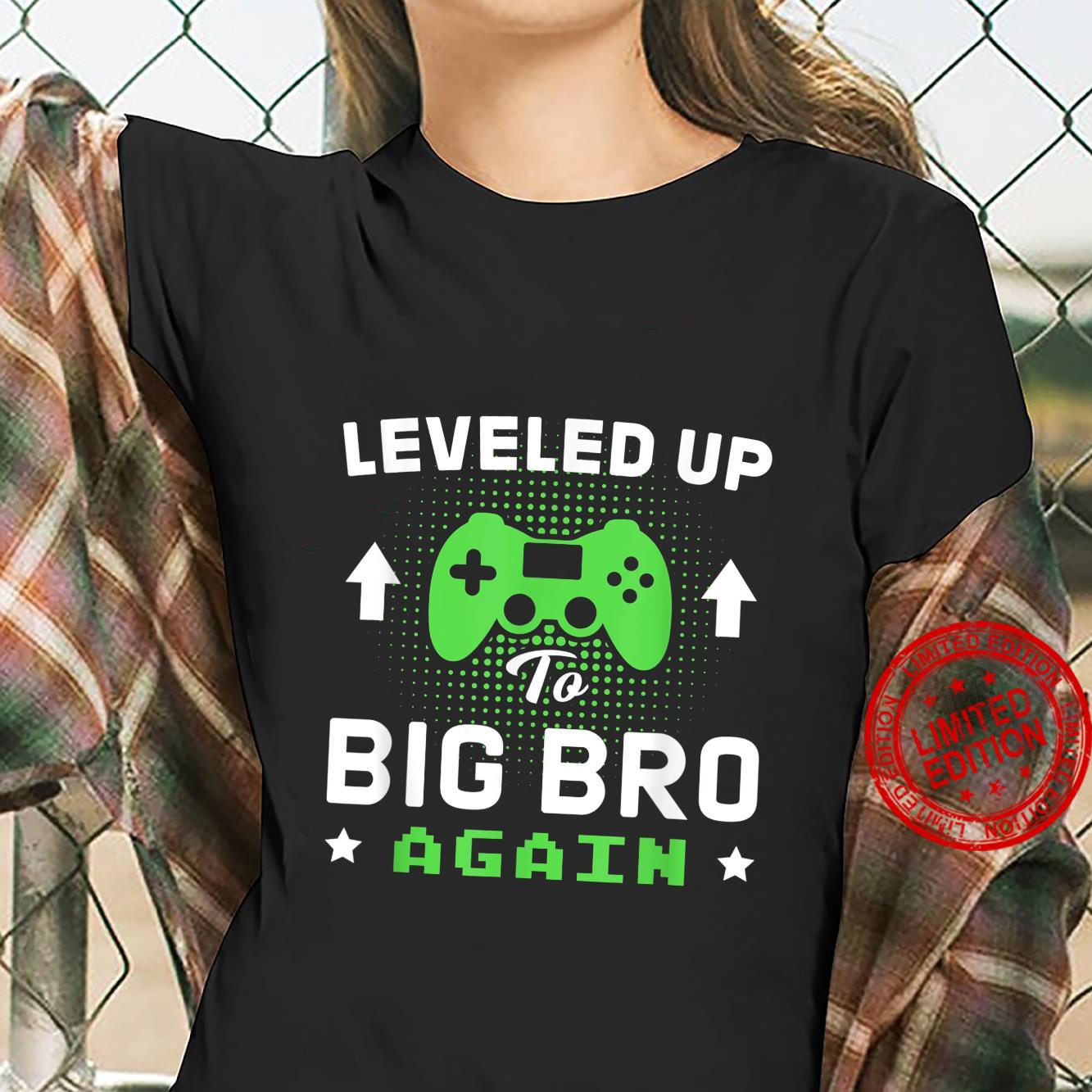 Leveling Up To Big Bro Again Gamer new brother Shirt ladies tee