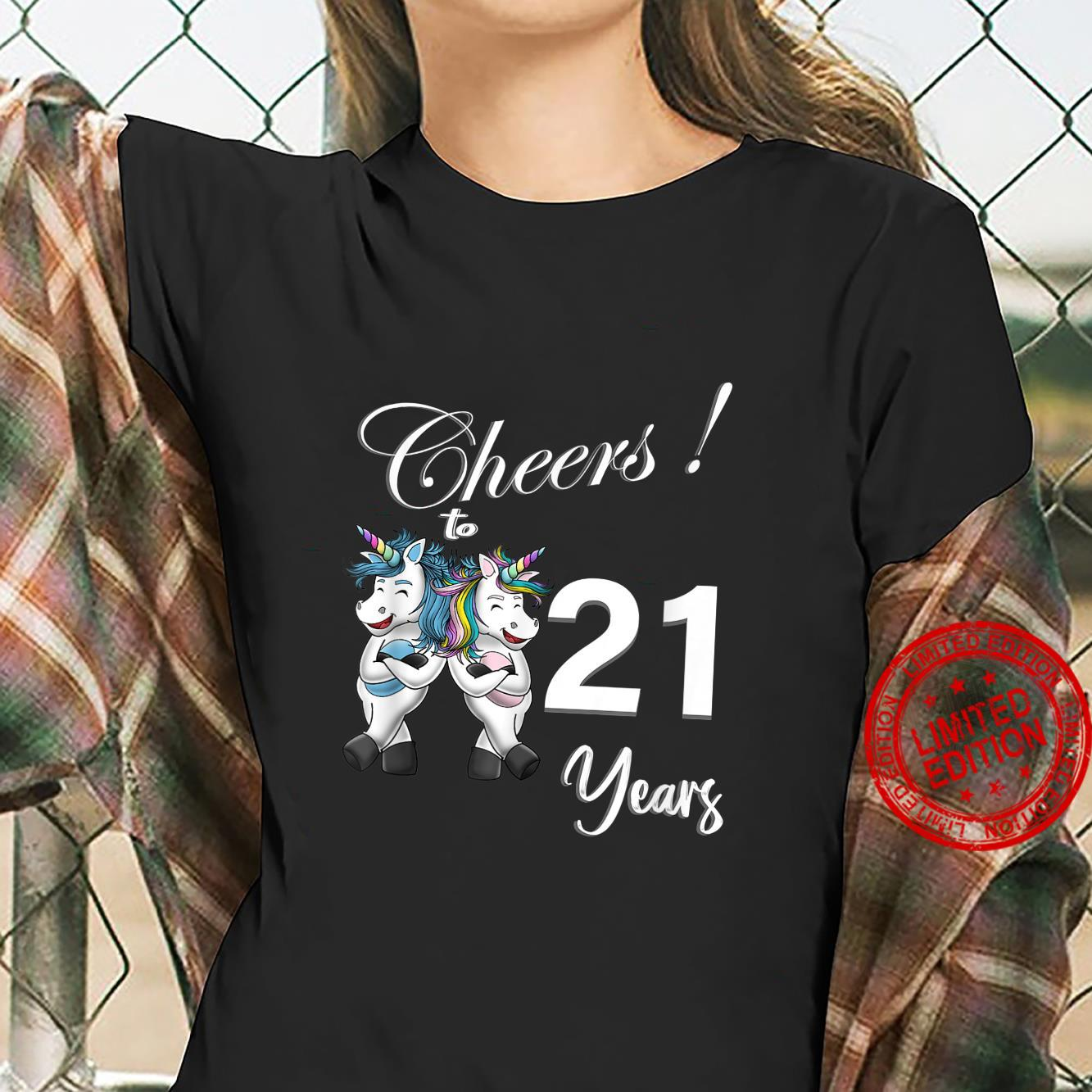 Unicorn Cheers 21 Years Love Awesome Shirt ladies tee