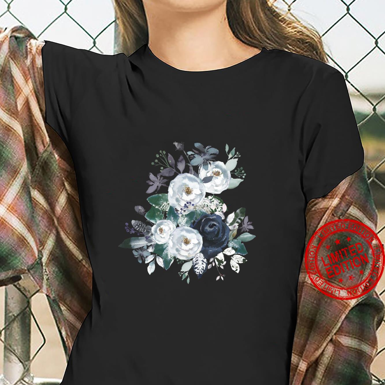 Vintage Flower Bouquet Blue Peony Floral Botanical Gardener Shirt ladies tee