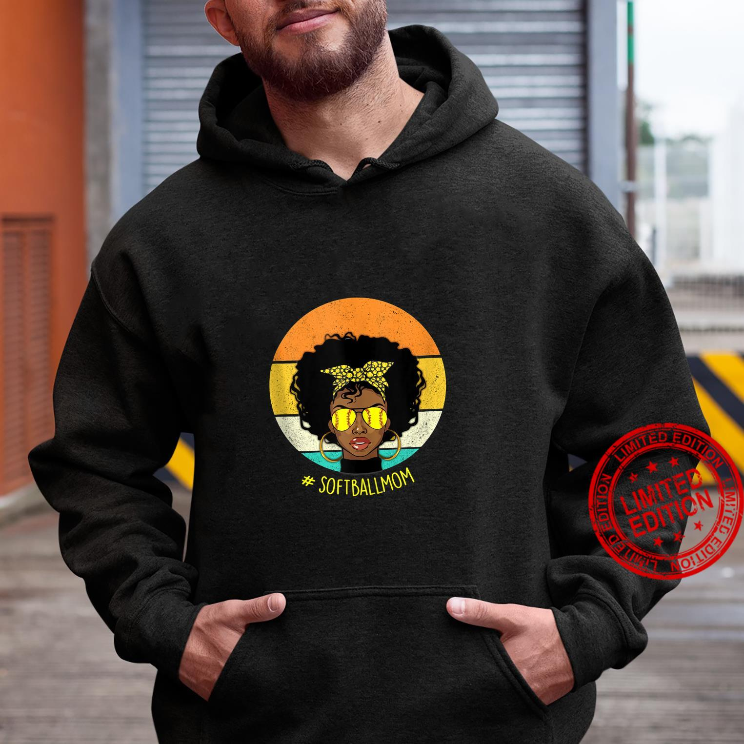 Vintage Softball Mom Black African American Afro Shirt hoodie