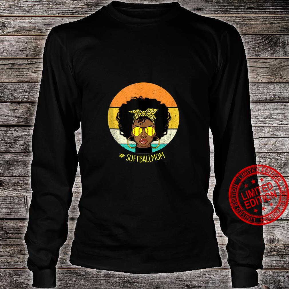 Vintage Softball Mom Black African American Afro Shirt long sleeved