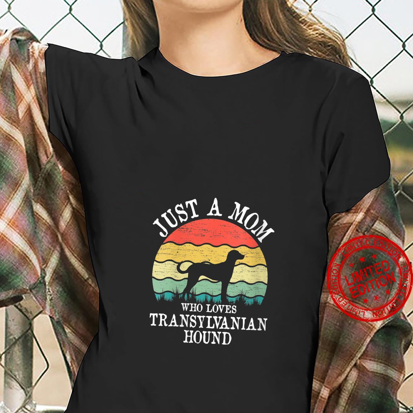 Womens Just A Mom Who Loves Transylvanian Hound Dog Mom Shirt ladies tee