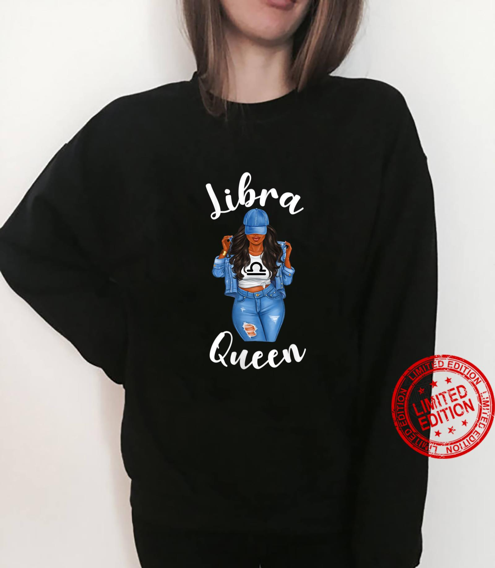 Womens Streetwise Libra Queen Black Zodiac Birthday Sassy Shirt sweater