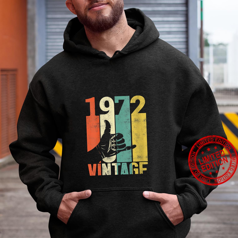 Womens Vintage 49th Birthday Shaka 1972 Surfing Sign Retro 70s Shirt hoodie
