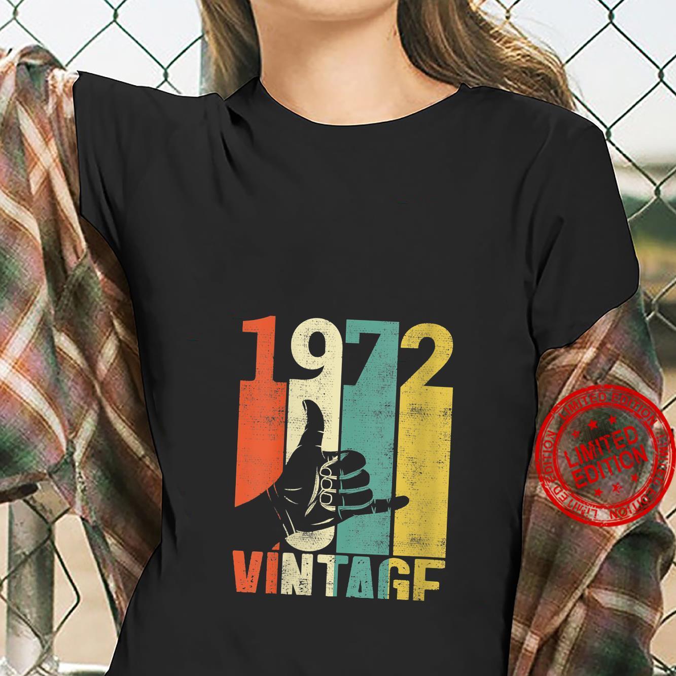 Womens Vintage 49th Birthday Shaka 1972 Surfing Sign Retro 70s Shirt ladies tee