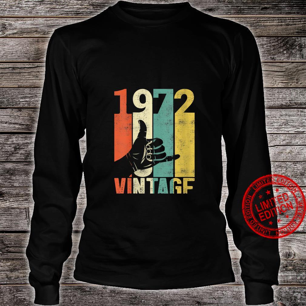 Womens Vintage 49th Birthday Shaka 1972 Surfing Sign Retro 70s Shirt long sleeved