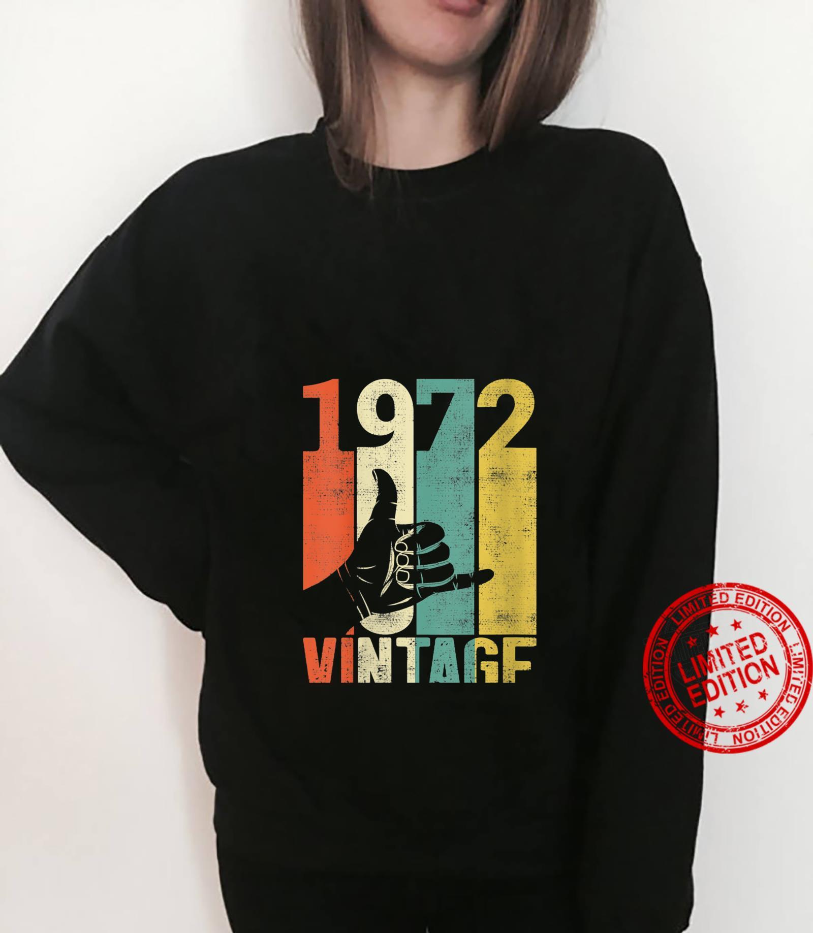 Womens Vintage 49th Birthday Shaka 1972 Surfing Sign Retro 70s Shirt sweater