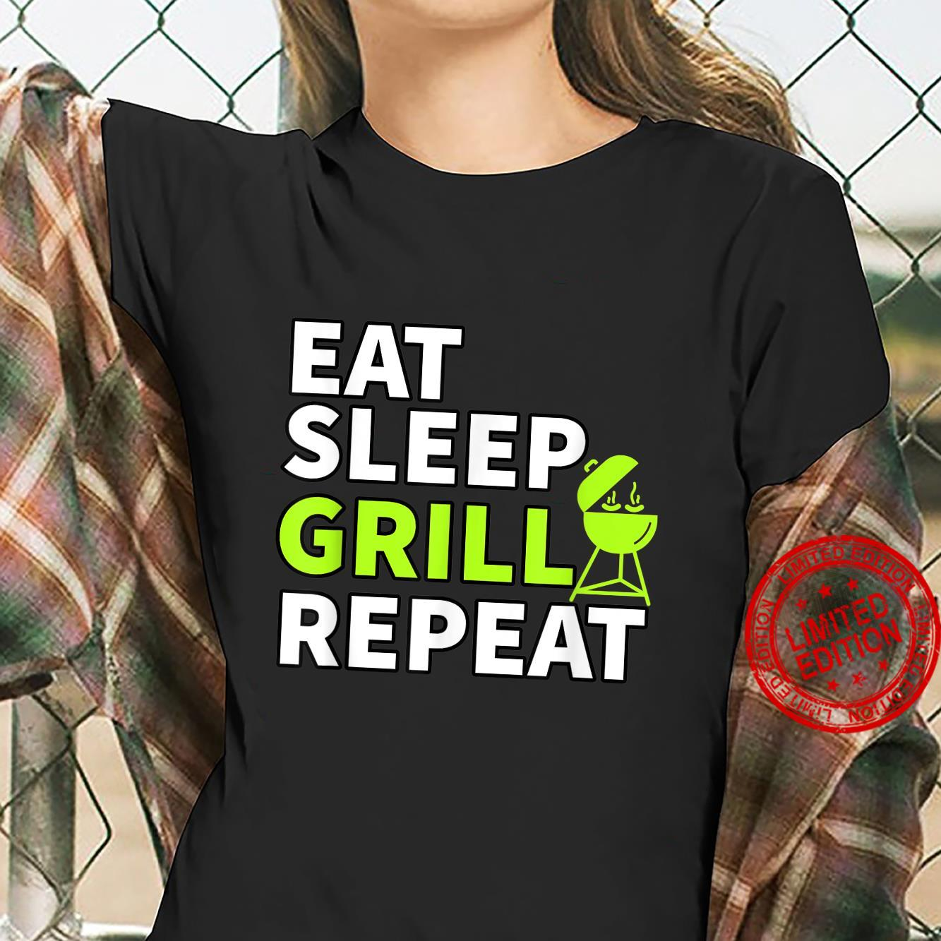 Eat Sleep Grill Repeat Barbeque Cook BBQ Cooking Shirt ladies tee