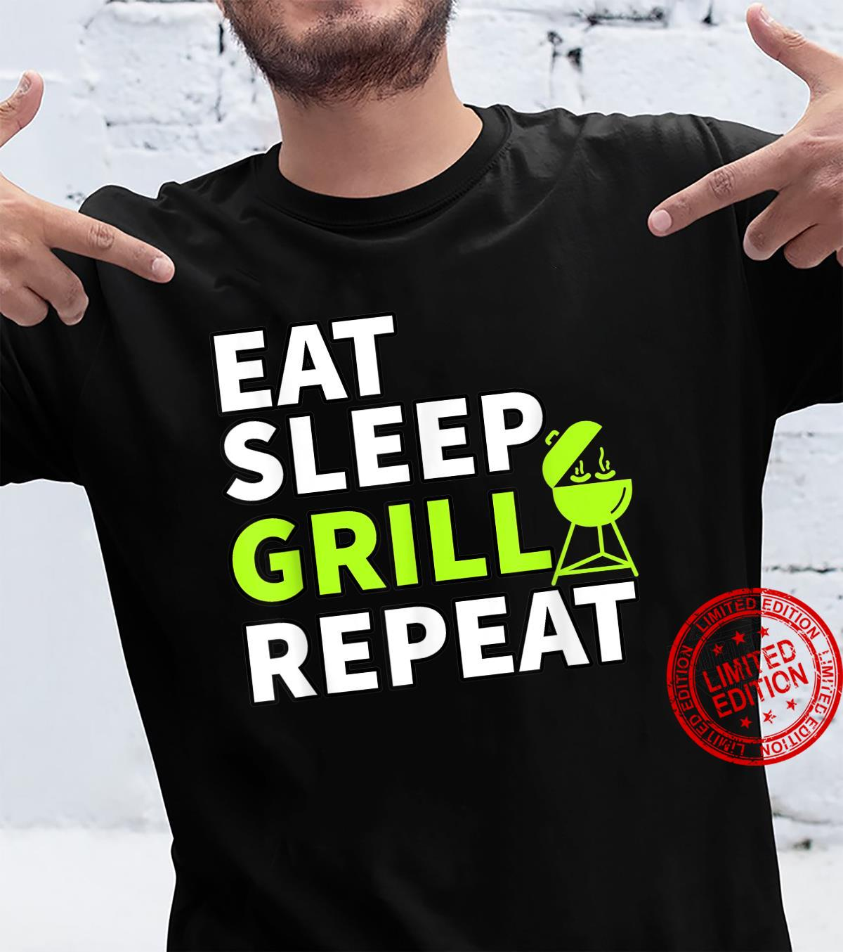 Eat Sleep Grill Repeat Barbeque Cook BBQ Cooking Shirt
