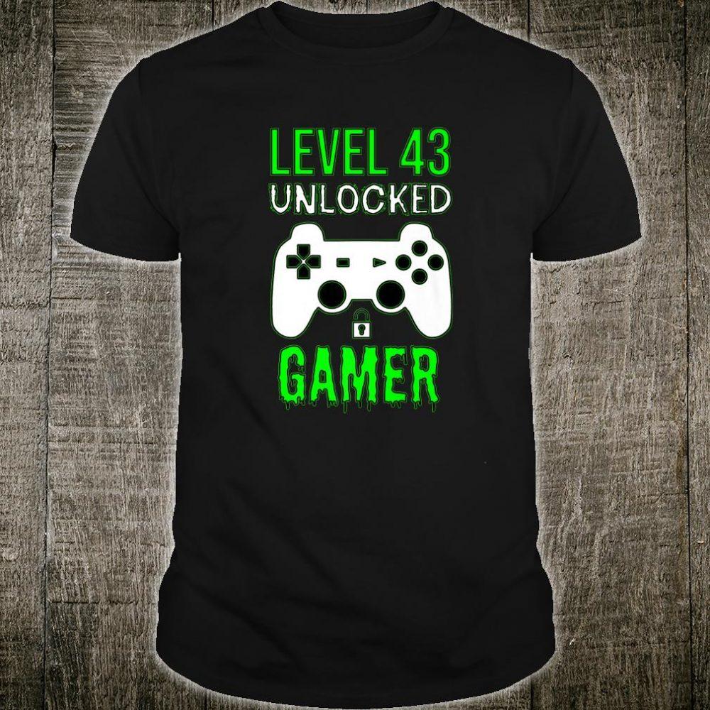 Gamer 43rd Birthday Level 43 Unlocked Gamer Shirt