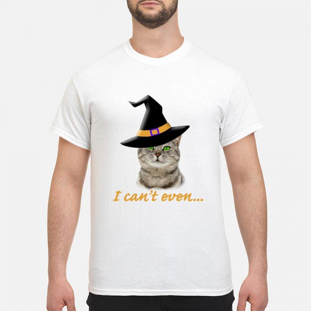 Halloween Trick Treat Cat Witch Hat Even Shirt