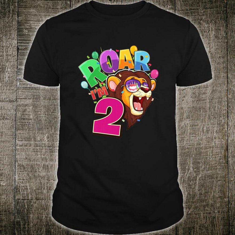 Kids 2nd Birthday ROAR I'M 2 Year Old Lion Safari Party Shirt