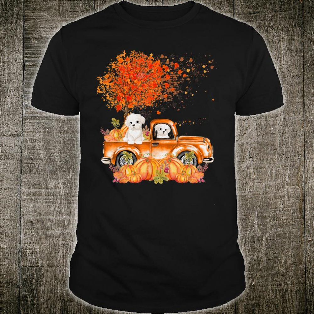Maltese Dog On Pumpkins Truck Autumn Leaf Fall Shirt