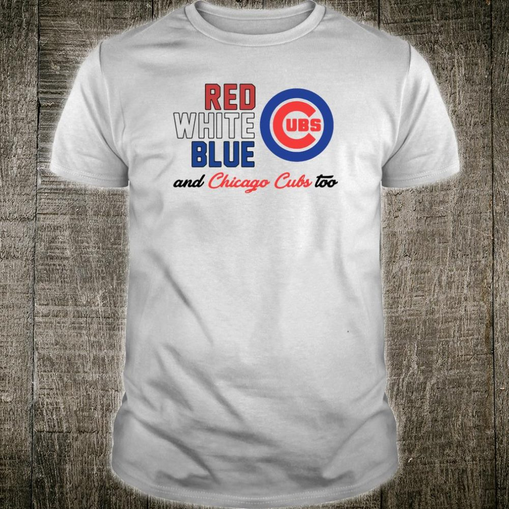 Red white bkue UBS and Chicago Cubs too shirt