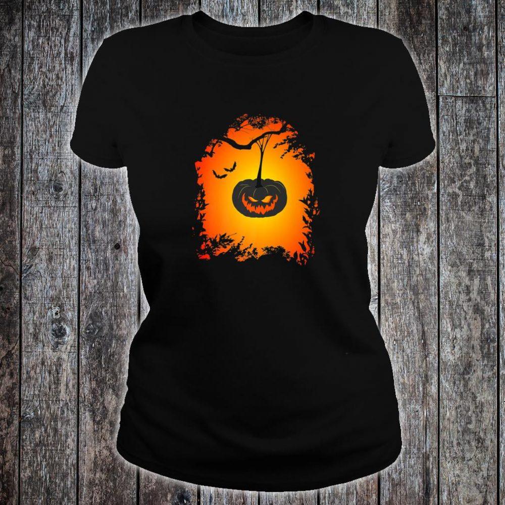 Scary Halloween haunted pumpkin Shirt ladies tee