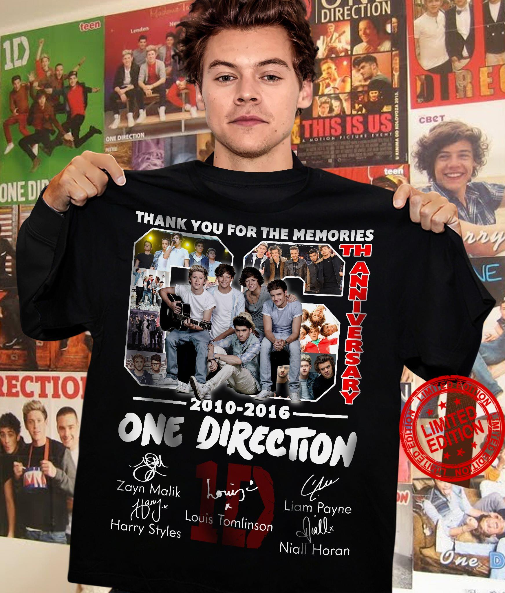Thank You For The Memories 66th Anniversary 2010-2016 One Direction Shirt